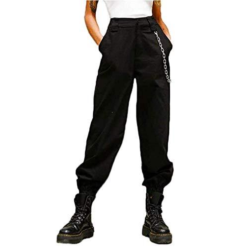 Damen Cargo Hosen Hip Hop Jogger Street Hose mit Kette Pants Jogginghose (Schwarz, S)