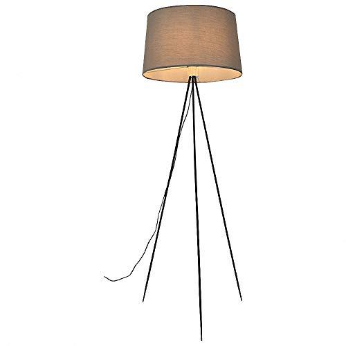 CBA BING Statief Vloerlamp, Met Voet Schakelaar en Grijze Cilinder Lichtschaduw, Modern Overbelast Hout,3 Kleurtemperaturen