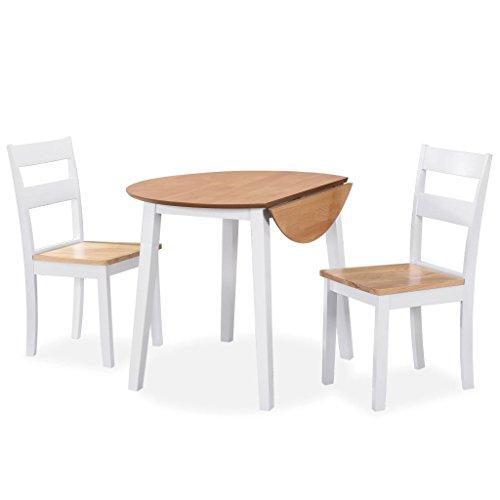 Tidyard Muebles de Jardin Exterior Conjuntos Juego de Comedor de MDF y Madera de Caucho 3 Piezas Blanco