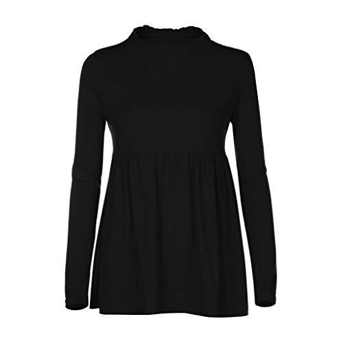 Umstandsmode FORH Mode Damen Casual Basic Longshirt Bluse Lose Langarm Umstands Bluse Tuniken Gemütlich Sommer T-Shirt Rundhals Sweatshirt Umstandstop Shirt Oberteil (Schwarz, L)