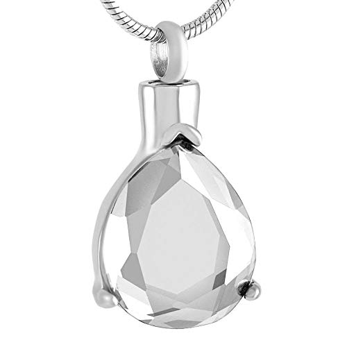 Keepsake Cremation Urn Necklace Jewelry Ashes Urn Necklace Birthstone Stainless Steel Base And Pendant Necklace