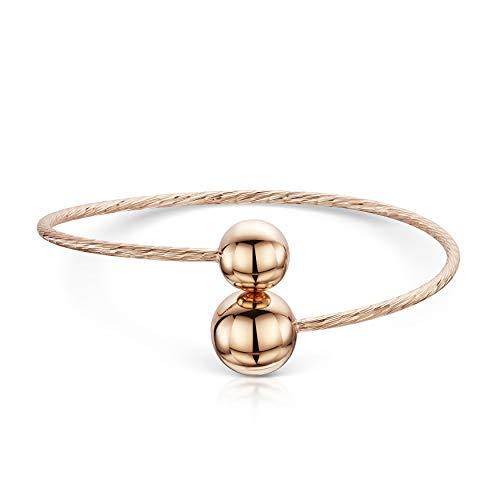 Amberta 925 Sterling Silber - 14K Rosévergoldete - Offener Armbänder - Armreif für Damen - Länge Verstellbar von 18 cm bis 22 cm