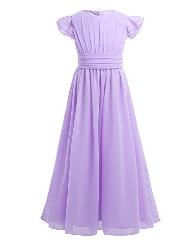 YiZYiF Girls' Kids' Flutter Sleeves Ruffles Bridesmaid Prom Gown Party Long Flower Girl Dress Lavender 14