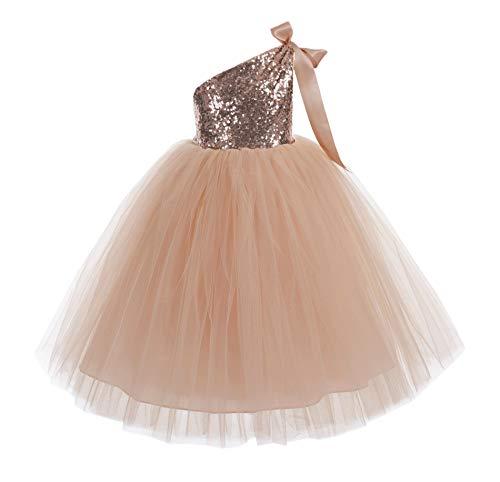 ekidsbridal One-Shoulder Sequin Tutu Junior Flower Girl Dresses Christening Dresses 182 10 Rose Gold