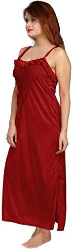 Bombshell Women's Satin Nighty with Robe 2 Pcs Night wear Set (Maroon,Free Size)