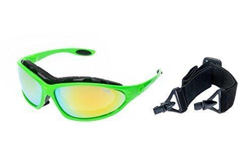 Ravs Leichte Unisex Sportbrille Skibrille mit Band und Büge für Allwetter ! (Grün-Neon)