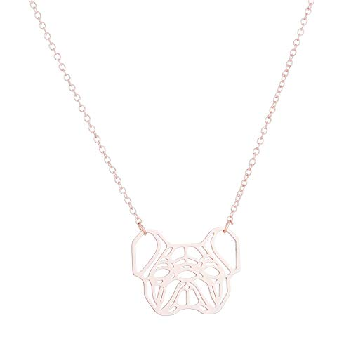 Daisies French Bulldog Necklace Geometric Origami Dog Unique Pendants Necklaces Women Animal Jewelry (rose gold)