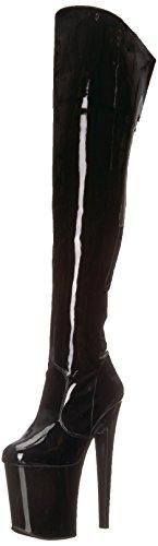 Pleaser XTREME-3010 XTM3010/B/M - Botas de Charol para Mujer, Color Negro, Talla 45