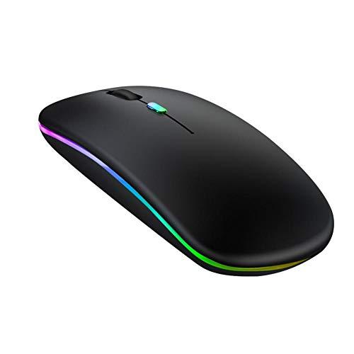 jinclonder Wiederaufladbare RGB lichtemittierende kabellose Maus Office Mute Laptop Gaming Maus Silent Mouse Cursor Einstellbare DPI-Funktion 800/1200/1600 DPI Einfach und schnell zu bedienen