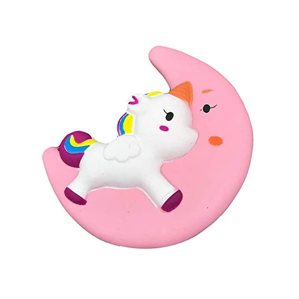Fun Toys Squishies, Kawaii Moon Unicorn Squishy, Creamy Aroma Slow Rising Squeeze Toys for Boys and Girls Gift (Color : Yellow) 3