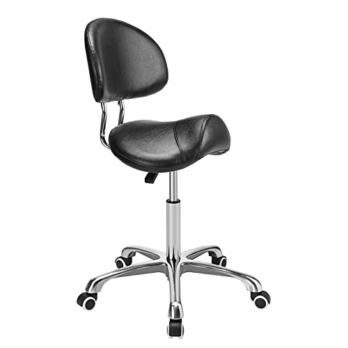 Kaleurrier Saddle Stool Rolling Swivel Height Adjustable with Wheels,Heavy Duty Anti-Fatigue Stool,Ergonomic Stool Chair for Clinic,Dentist,Salon,Massage,Office and Home Kitchen (Black,with Backrest)