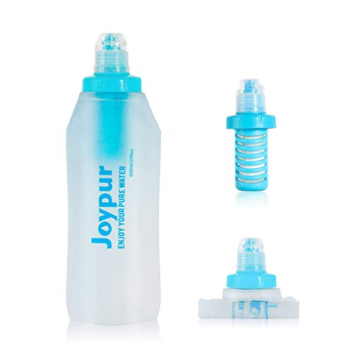 Joypur Collapsible Filtered Water Bottle - BPA Free,with Filter Integrated 2 Stage Portable Water Bag for Outdoor Camping Travel Hiking Backpacking