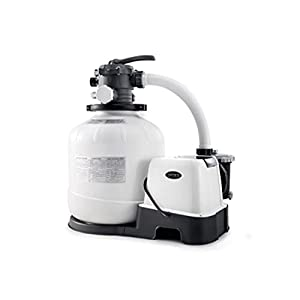 FILTER PUMP: The Intex Krystal Clear filter pump with Hydro Aeration Technology improves circulation and filtration; Runs on 110-120V and weighs 54.9 pounds COMPATIBLE: The Intex pump is compatible with above ground pools from 4,800 to 15,000 gallon ...