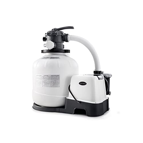 Intex Krystal Clear 2150 GPH Sand Filter Pump & Saltwater System with E.C.O. (Electrocatalytic Oxidation) for Above Ground Pools, 110-120V with GFCI, Grey