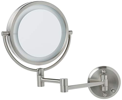 """Jerdon HL88NLD 8.5"""" Led Lighted Direct Wire Makeup Mirror With 8x Magnification, Nickel Finish"""