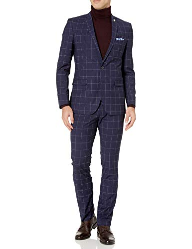 Nick Graham – Traje de Hombre Ajustado con Parte Inferior elástica, Azul (Blue Windowpane), 48 Long