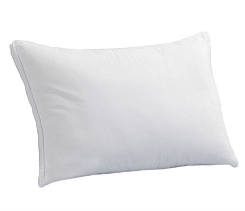 Down Supply OVERSTUFFED MED/Firm Luxury Down-Alternative Pillow Single Queen Size Gel-Fiber Filled Hypoallergenic, Super-Soft Brushed Microfiber Gusseted Shell - Best for Side & Back Sleepers