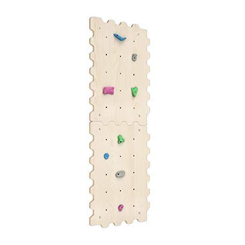 Kletterwand Indoor für Kinder mit Griffe | Nachhaltig Kinder Kletterwand aus natürlichem Holz | Kletterwand Kinderzimmer minimalistisches Design Pastellfarben | 100% ECO | Made in EU (2 Module)