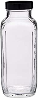 16oz Glass French Square Bottles (Black Cap) Case 40 by Berlin Packaging