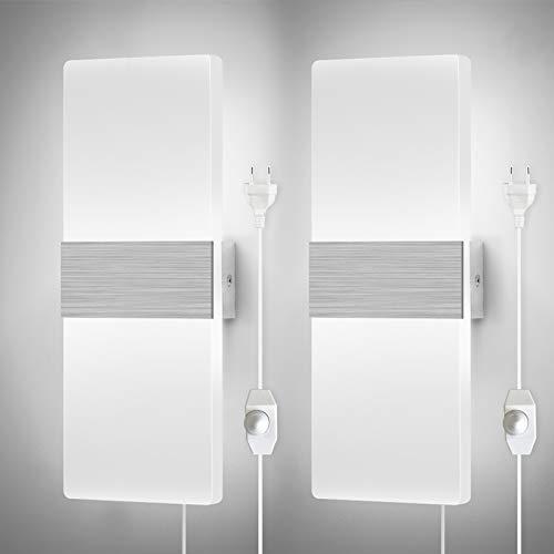 Glighone Apliques Pared Regulable Lámparas de Pared Enchufable Moderno Luz de Pared con Enchufe Interruptor LED Arriba Abajo Lámpara Pared 12W para Dormitorio Pasillo Salon, Blanco Frio