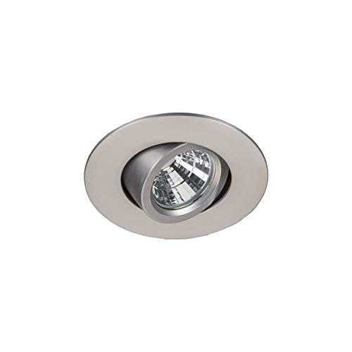 """WAC Lighting R2BRA-F930-BN Oculux 2"""" LED Round Adjustable Trim with Light Engine and Universal Housing in Brushed Nickel Finish Flood Beam, 90+CRI and 3000K (Renewed)"""