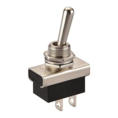 Heschen Interruptor de palanca de metal Flick Flip 12 V 25 A encendido/apagado 2 posiciones 2 pin para coche Dash luz