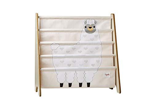 3 Sprouts Book Rack – Kids Storage Shelf Organizer Baby Room Bookcase Furniture, Llama