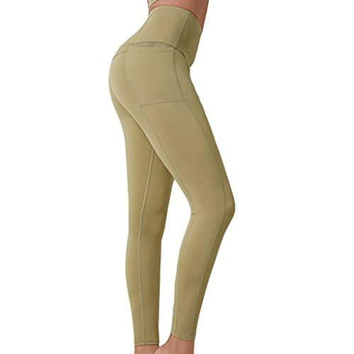 ZZAL los Pantalones Yoga Pantalones Legging De Cintura Alta Que Absorben La Humedad Anticelulitis para Deportes Fitness Pantalones Sin Costuras(Size:Metro,Color:Verde)