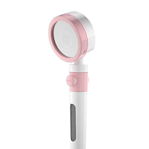ZCSMTZ Ducha de mano con un botón de parada de agua, con filtro, para el hogar, piel de belleza, ducha presurizada, ducha de bajo consumo, ABS portátil, interfaz universal estándar nacional (rosa)