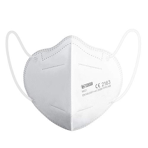 IDOIT 20 Stück FFP2 Mundschutzmaske,Mund- und Nasenschutz Einwegmasken mit 5-lagiger Filterung,Hautfreundlichkeit,atmungsaktiv