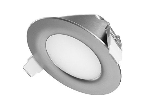 TEVEA® Ultra Flach LED Einbaustrahler IP44 dimmbar für den Wohnbereich  auch für das Bad geeignet  Warmweiß 6W 230V Rahmen weiss Rund Einbauspots Badleuchten (Silber-Warmweiss)