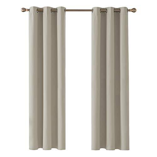 Deconovo Cortinas para Habitación con Aislamiento Térmico Reducción de Ruido Telas Tupidas Gruesas con Ojales Beige Claro 107 x 213 cm