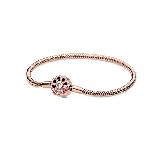 Pulsera Pulsera De Plata De Ley 925 Moments Brújula Rosa Broche De Abanico Pulsera De Cadena De Serpiente Para Mujer Charm Jewelry Making Gift