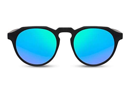 Cheapass Occhiali da Sole Popolari Stile Opaco Nero Rotondo con la parte Superiore Piatta e Lenti a Specchio Verde da Uomo e Donna