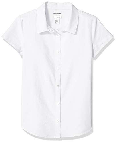 Amazon Essentials Girl's Short Sleeve Uniform Oxford Shirt, White, M (8)