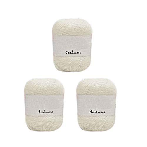 3 Balls 100% Cashmere Merino Wool Blend Yarn Soft Cashmere Thread Knitting Crochet Fuzzy Yarn for DIY Sweater Scarf Gloves Total 150g (White)