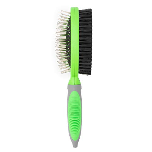 PET RELIGION Dog Brush for Shedding Two Sided Lime Green Rubber Grip 2 in 1 Pet Brush with Bristles and Pins Dog Grooming Brush Removing Shedding Hair