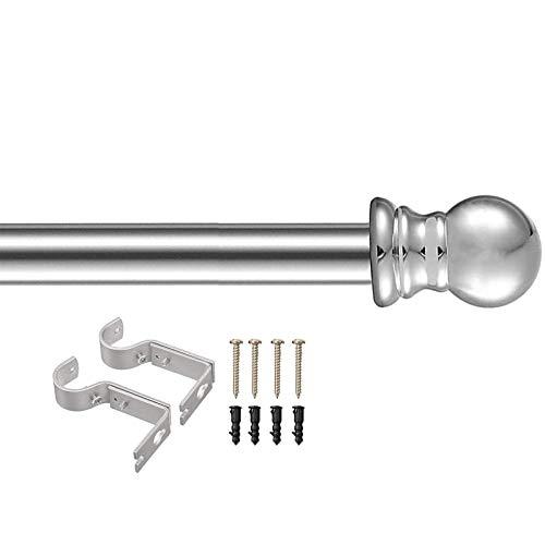 INFLATION Ausziehbare Gardinenstangen mit rundem Endstück,76-365cm,1-Lauf Edelstahloptik Metall,Silber 76-228cm