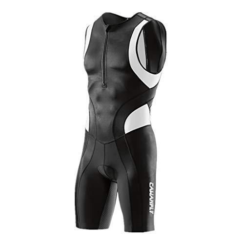 GWELL Tuta da triathlon da uomo a compressione trisuit, tutina per duathlon, corsa, nuoto, ciclismo, competizione, Bianco (la nostra dimensione)., XXL