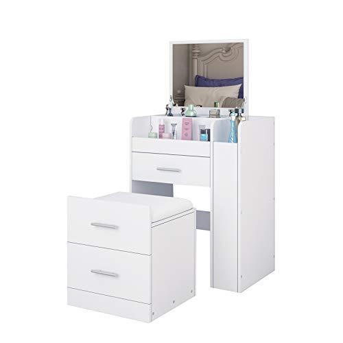 UNDRANDED Schminktisch LED-Beleuchtung Kosmetiktisch mit Klappspiegel, 2 Schubladen und Fächern, Frisierkommode mit Schminkhocker - Weiß