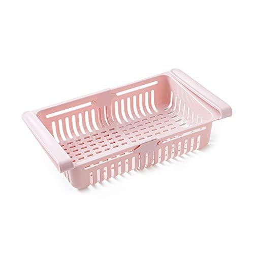 JUNJUN xiaojunjia 1-2Pcs Kitchen Accessories Storage Container Refrigerator Organizer Adjustable Plastic Fridge Storage Baskets Pull-out Drawer (Color : Pink 1Pcs)