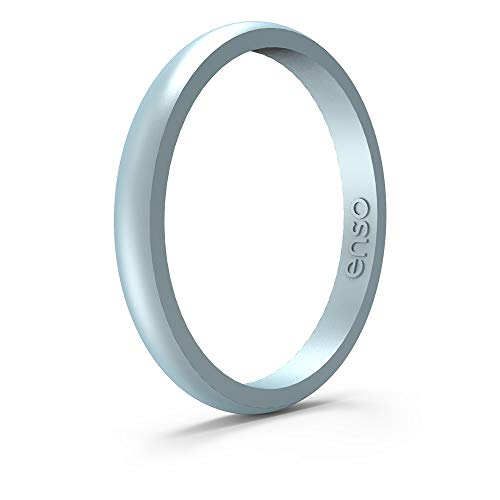 Enso Rings Halo Legend Silicone Ring - Made in The USA - an Ultra Comfortable, Breathable, and Safe Silicone Ring - Men's and Women's Silicone Wedding Ring 8 UK