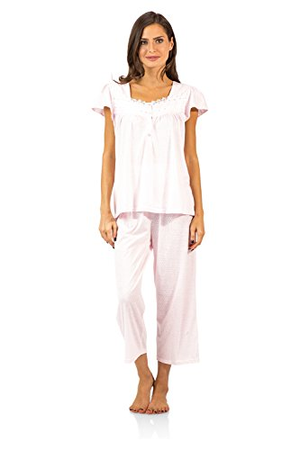Casual Nights Women's Lace Cap Sleeve Capri Pajama Set - Dot Pink - XX-Large