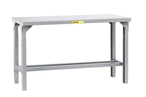 "Little Giant WST1-2448-AH Welded Steel Workbench, 5000 lb. Load Capacity, 1 Half-Shelf, 27"" to 41"" Adjustable Height, 48"" x 24"", Gray"