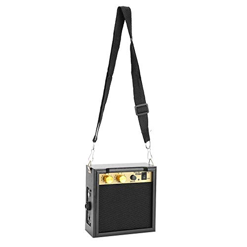 AMONIDA Gitarrenverstärker, 5 W mit Schultergurt DC 9V Gitarrenlautsprecher, Schwarz für Gitarrenübungen zum Senden für Hochzeiten zum Spielen im Freien