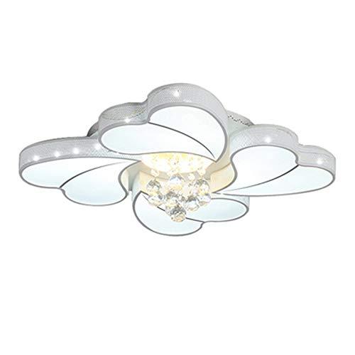 Kreative LED Kristall Deckenbeleuchtung Weiß Schlafzimmer Deckenlampe, Fü Mädchen Lounge Hochzeits-Zimmer Kinderzimmer Lampe,Stufenloses Dimmen Mit Fernbedienung Blütenform Lampenschirm,Ø70*8cm 48w