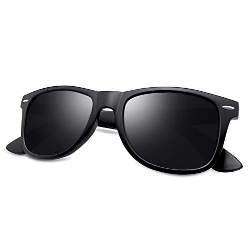 KANASTAL Gafas de Sol Hombre y Mujer Polarizadas Cuadradas Clásicas Retro con 100% Protección UV400 para Conducir Pesca Golf al Aire Libre Viajes(Negro Brillante)