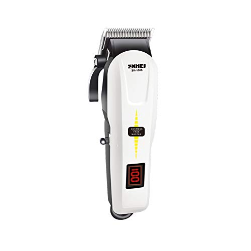 SKMEI Men's Low Voice Rechargeable Hair Clipper Razor LCD Display Cordless Electric Professional Shaver Beard Trimmer Grooming Shaving Machine Self Hair Cutting Haircut Trimmer Cutter, White (2M_KM-809A)