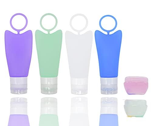 Bottiglie da viaggio in silicone, contenitore da viaggio a prova di perdite Approvato TSA senza BPA, accessorio da viaggio portatile da 4 pezzi per shampoo, articoli da toeletta, lozione, bal (B)