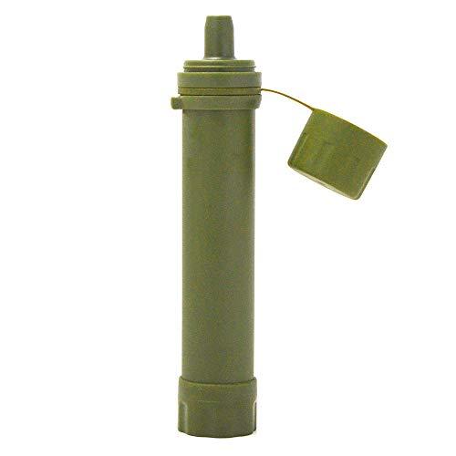 NO Logo Purificateur d'eau d'urgence de Plein air Filtre à Eau de Paille système de Filtration de l'eau Outil de Survie Voyage randonnée équipement de Camping, Vert Militaire